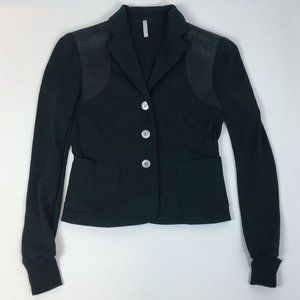 IISLI Cotton Knit Fitted Blazer with Leather Trim
